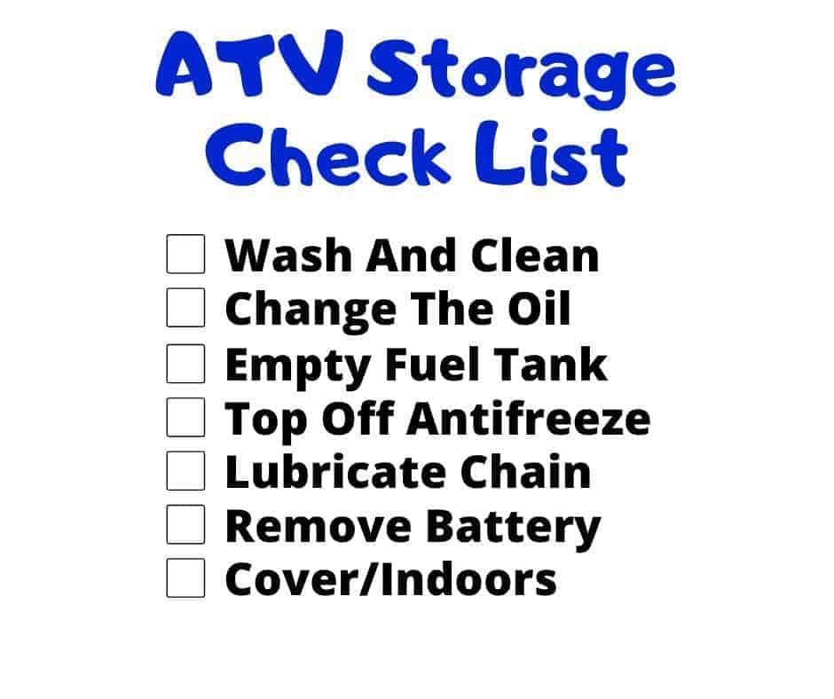 atv storage check list